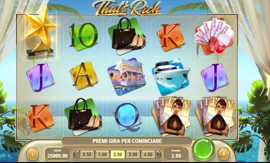 I simboli della slot online That's Rich