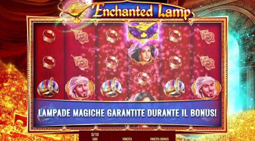 Oltre al gioco normale, a Enchanted Lamp hai la possibilità di vincere delle partite bonus