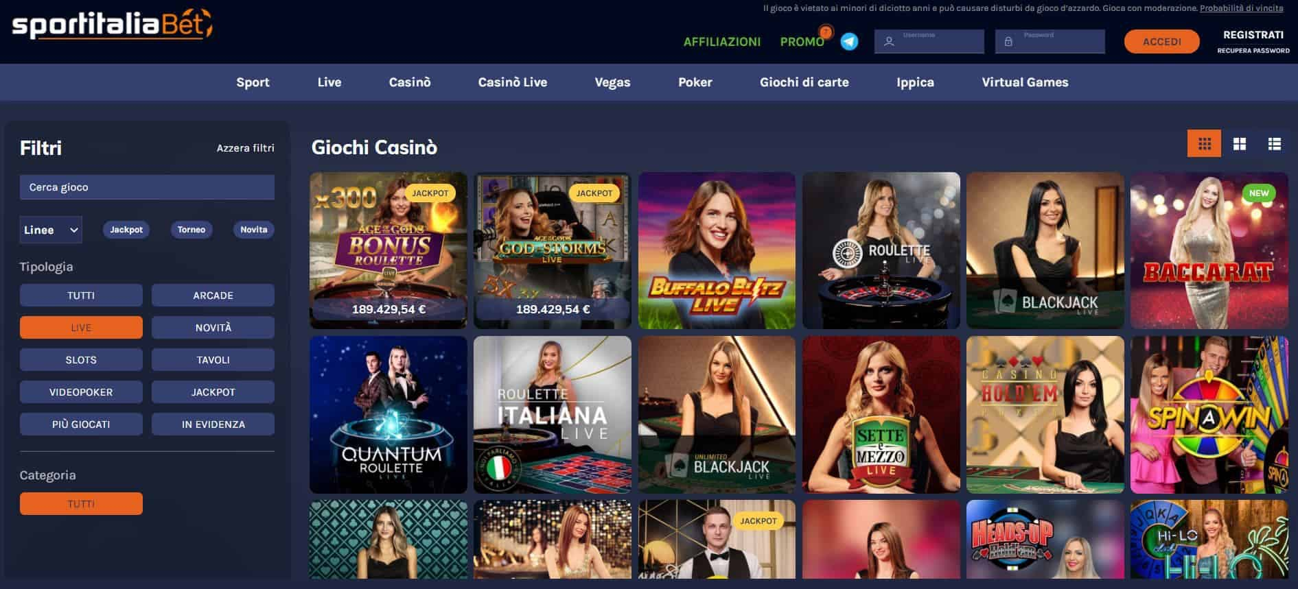 Il casino dal vivo diSportitaliaBetpresenta diversi tavoli virtuali