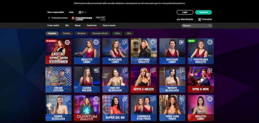 Il casino dal vivo diPokerStarspresenta diversi tavoli virtuali