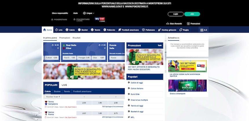Prova le scommesse sportive online diPokerStars