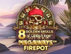 8 Golden Skulls of Holly Roger MEGAWAYS logo
